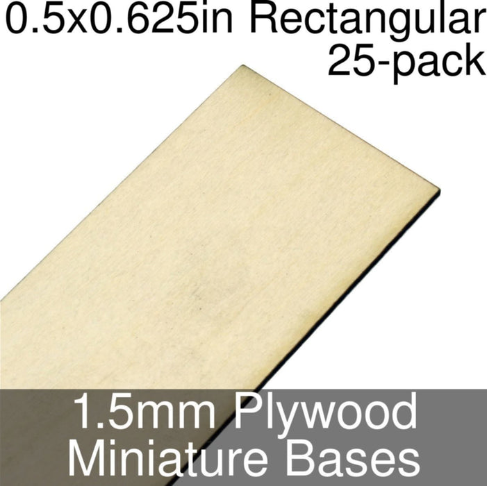 Miniature Bases, Rectangular, 0.5x0.625inch, 1.5mm Plywood (25) - LITKO Game Accessories