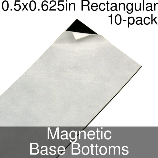 Miniature Base Bottoms, Rectangular, 0.5x0.625inch, Magnet (10) - LITKO Game Accessories