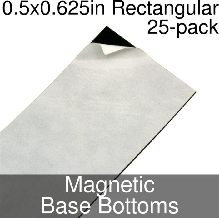 Miniature Base Bottoms, Rectangular, 0.5x0.625inch, Magnet (25) - LITKO Game Accessories