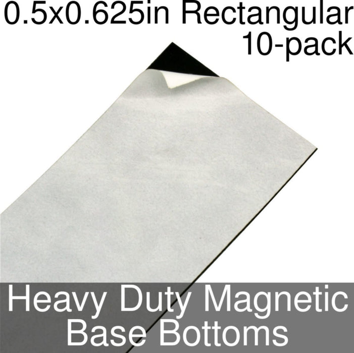 Miniature Base Bottoms, Rectangular, 0.5x0.625inch, Heavy Duty Magnet (10) - LITKO Game Accessories