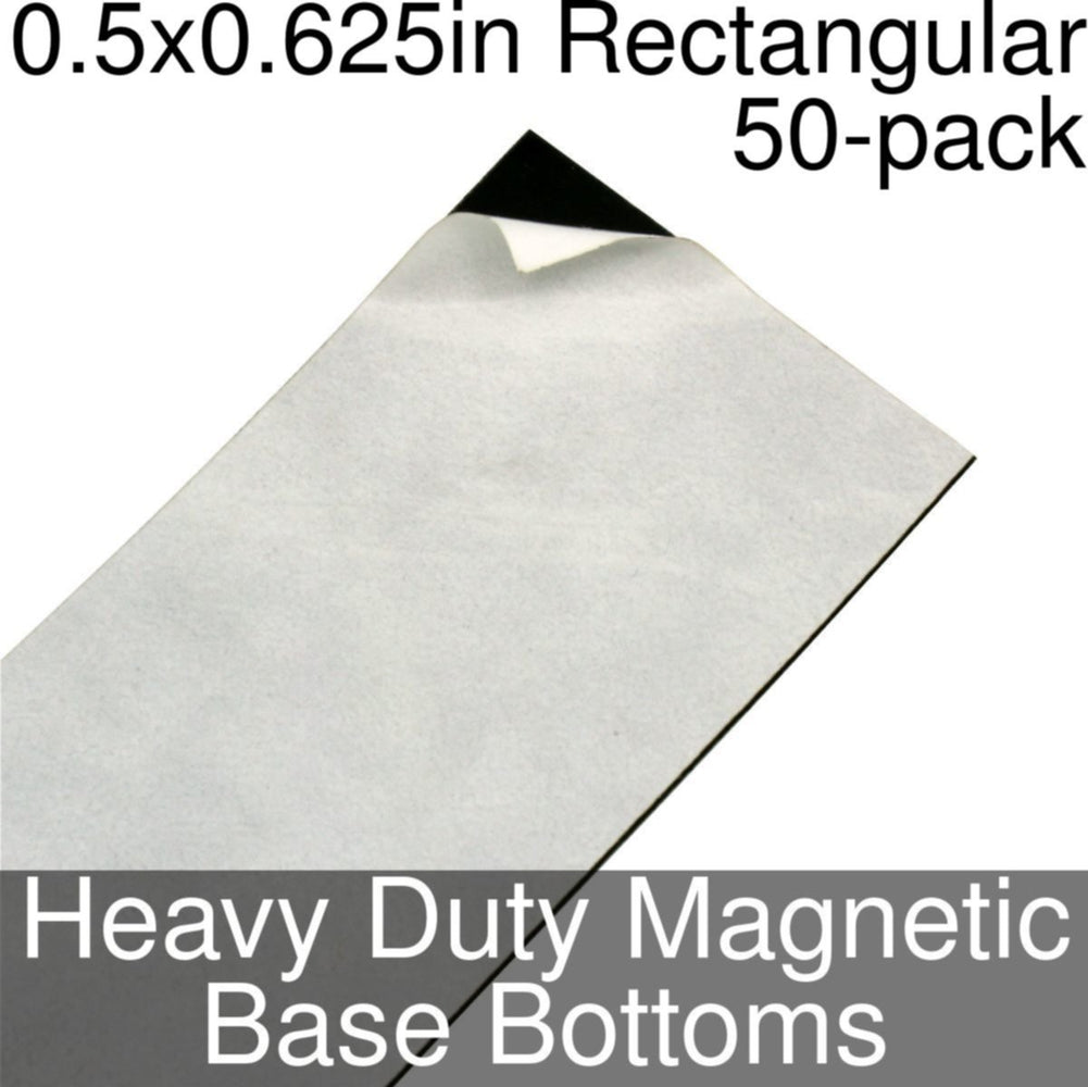 Miniature Base Bottoms, Rectangular, 0.5x0.625inch, Heavy Duty Magnet (50) - LITKO Game Accessories