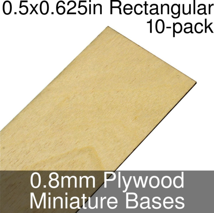 Miniature Bases, Rectangular, 0.5x0.625inch, 0.8mm Plywood (10) - LITKO Game Accessories