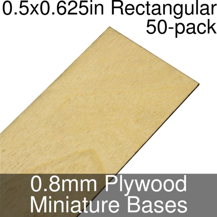 Miniature Bases, Rectangular, 0.5x0.625inch, 0.8mm Plywood (50) - LITKO Game Accessories
