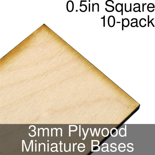 Miniature Bases, Square, 0.5inch, 3mm Plywood (10) - LITKO Game Accessories