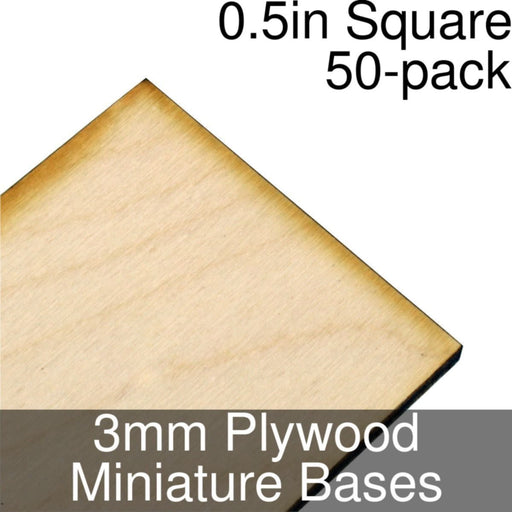 Miniature Bases, Square, 0.5inch, 3mm Plywood (50) - LITKO Game Accessories