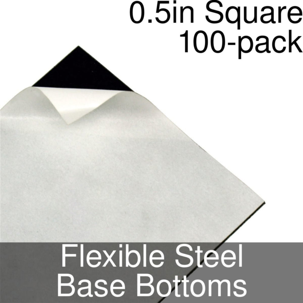 Miniature Base Bottoms, Square, 0.5inch, Flexible Steel (100) - LITKO Game Accessories