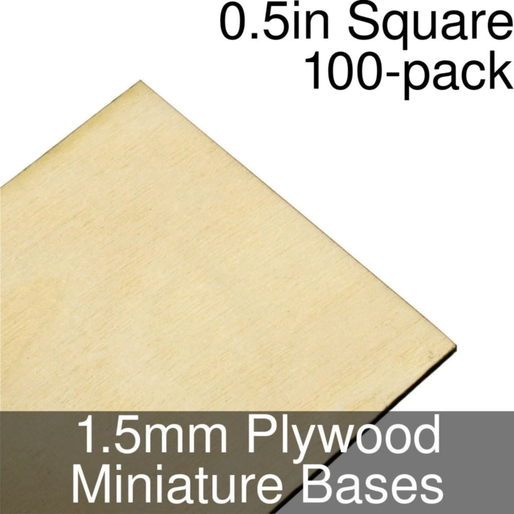 Miniature Bases, Square, 0.5inch, 1.5mm Plywood (100) - LITKO Game Accessories