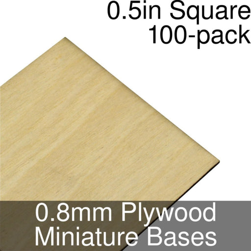 Miniature Bases, Square, 0.5inch, 0.8mm Plywood (100) - LITKO Game Accessories