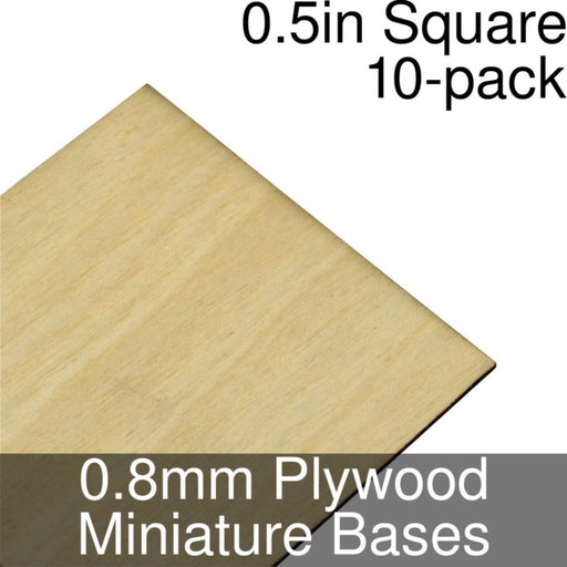 Miniature Bases, Square, 0.5inch, 0.8mm Plywood (10) - LITKO Game Accessories