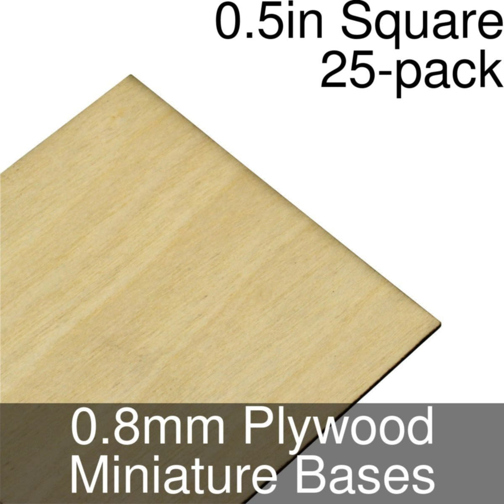 Miniature Bases, Square, 0.5inch, 0.8mm Plywood (25) - LITKO Game Accessories