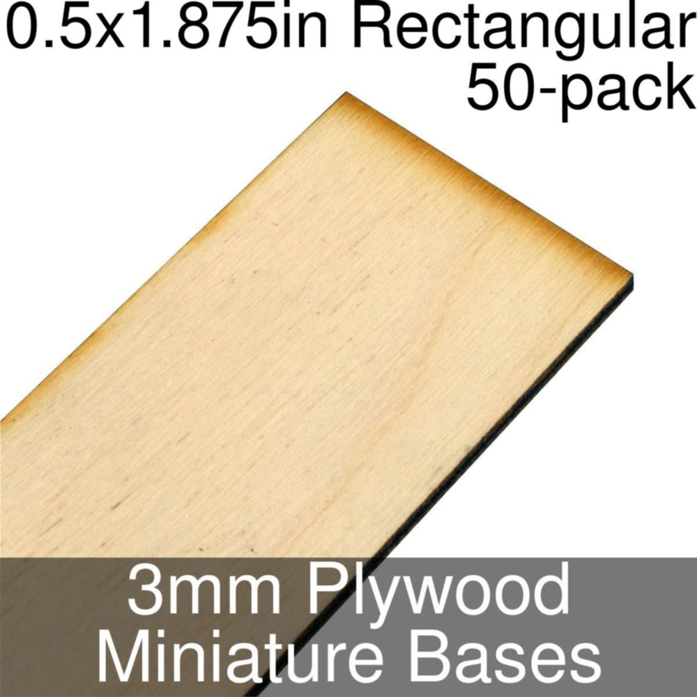 Miniature Bases, Rectangular, 0.5x1.875inch, 3mm Plywood (50) - LITKO Game Accessories