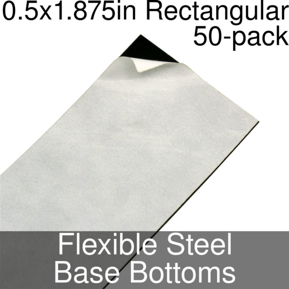 Miniature Base Bottoms, Rectangular, 0.5x1.875inch, Flexible Steel (50) - LITKO Game Accessories