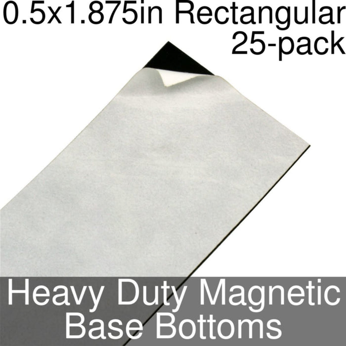 Miniature Base Bottoms, Rectangular, 0.5x1.875inch, Heavy Duty Magnet (25) - LITKO Game Accessories
