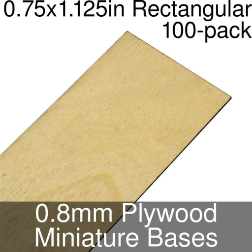 Miniature Bases, Rectangular, 0.75x1.125inch, 0.8mm Plywood (100) - LITKO Game Accessories