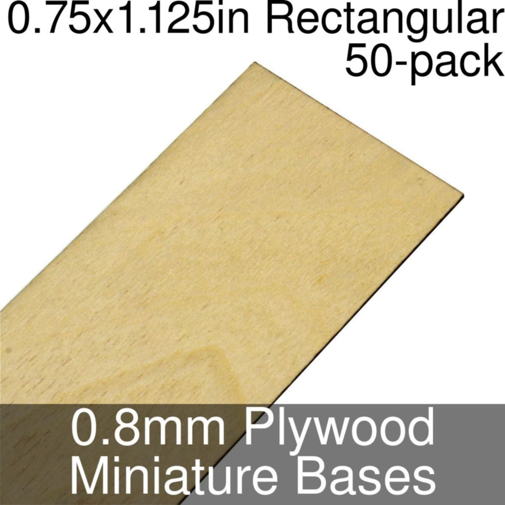 Miniature Bases, Rectangular, 0.75x1.125inch, 0.8mm Plywood (50) - LITKO Game Accessories