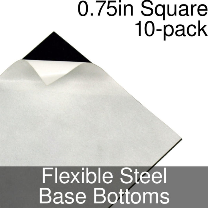 Miniature Base Bottoms, Square, 0.75inch, Flexible Steel (10) - LITKO Game Accessories