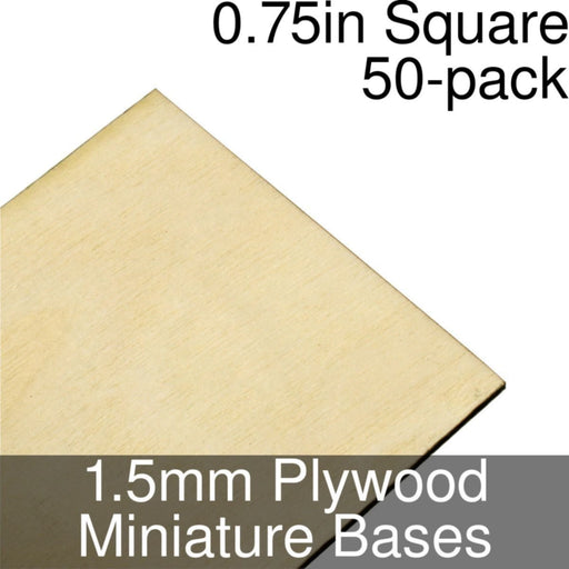 Miniature Bases, Square, 0.75inch, 1.5mm Plywood (50) - LITKO Game Accessories