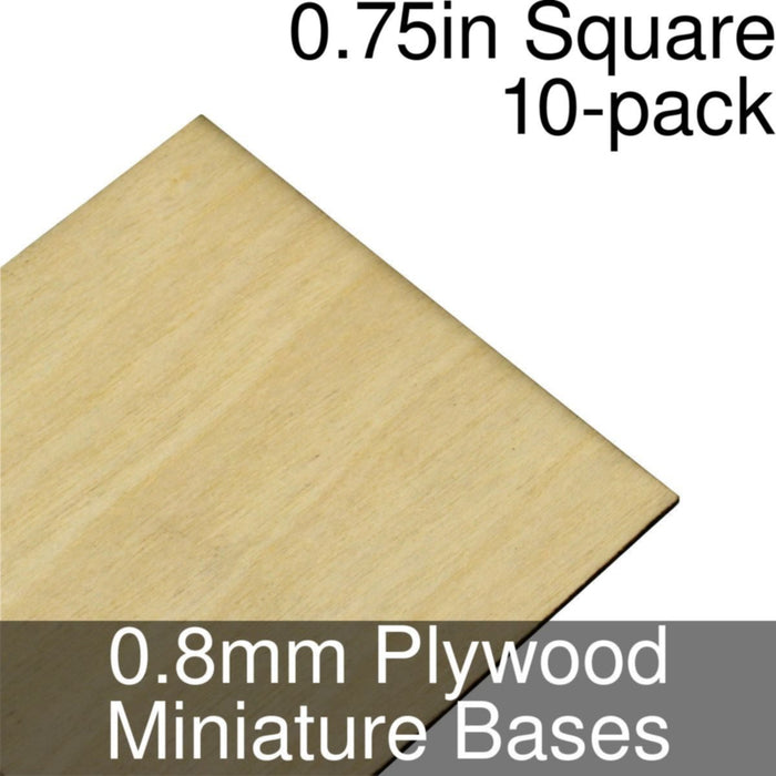 Miniature Bases, Square, 0.75inch, 0.8mm Plywood (10) - LITKO Game Accessories