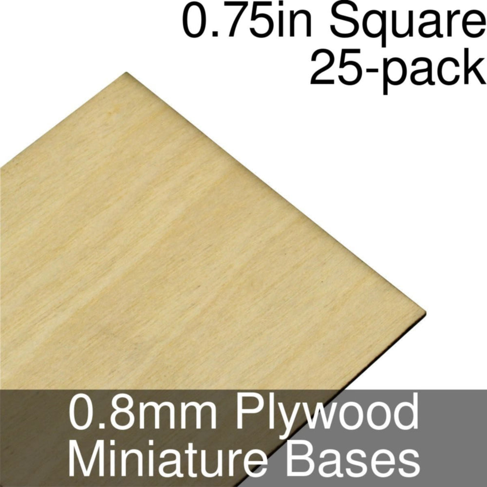Miniature Bases, Square, 0.75inch, 0.8mm Plywood (25) - LITKO Game Accessories