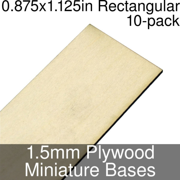 Miniature Bases, Rectangular, 0.875x1.125inch, 1.5mm Plywood (10) - LITKO Game Accessories