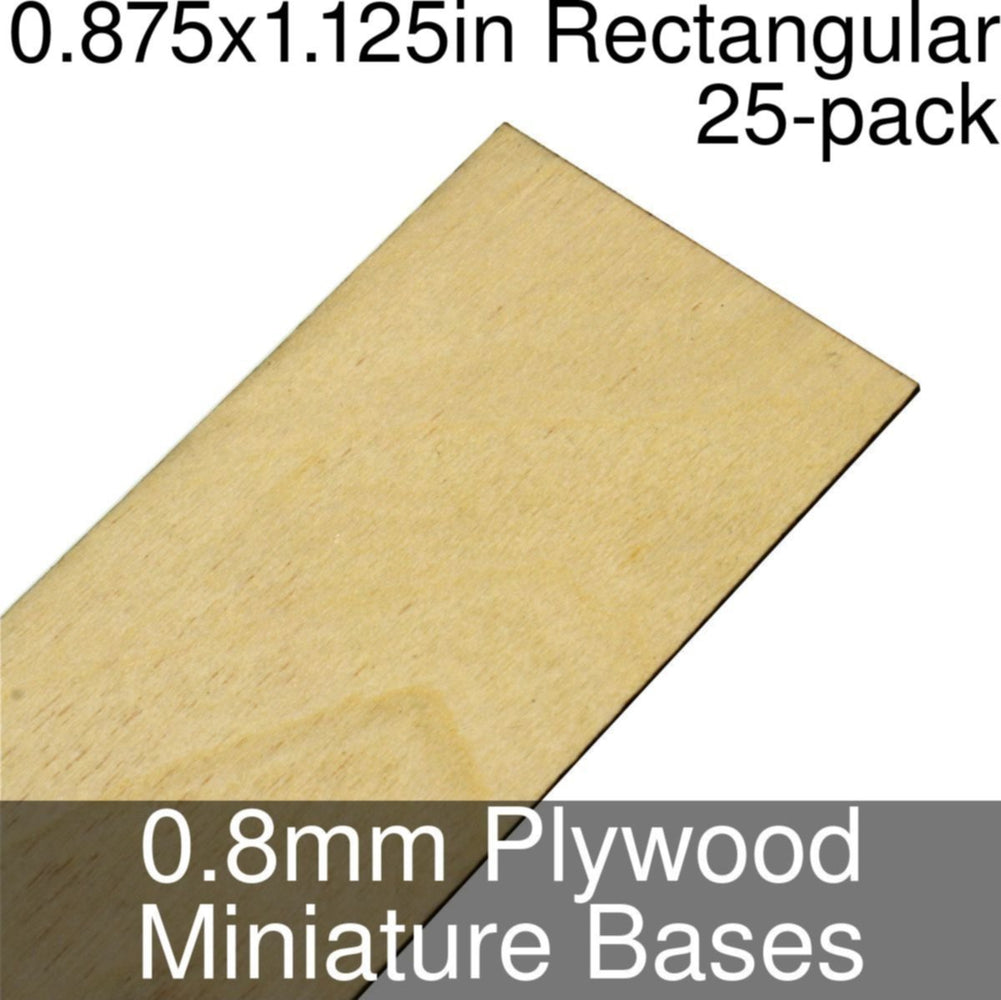 Miniature Bases, Rectangular, 0.875x1.125inch, 0.8mm Plywood (25) - LITKO Game Accessories