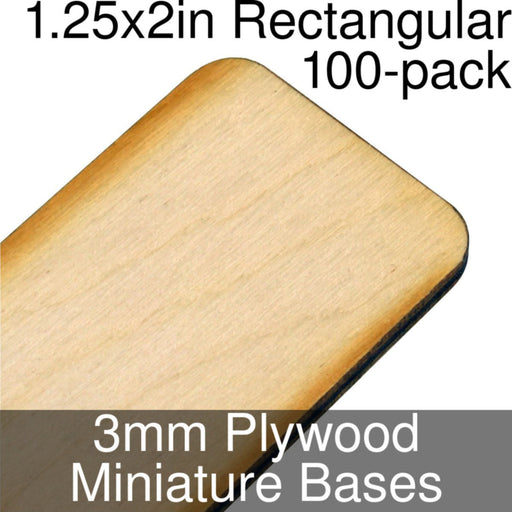Miniature Bases, Rectangular, 1.25x2in (Rounded Corners), 3mm Plywood (100) - LITKO Game Accessories