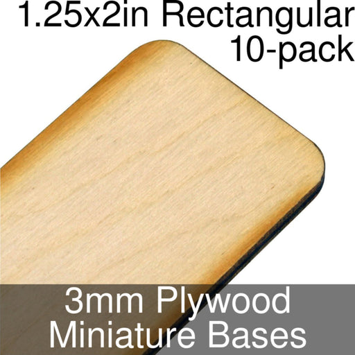 Miniature Bases, Rectangular, 1.25x2in (Rounded Corners), 3mm Plywood (10) - LITKO Game Accessories