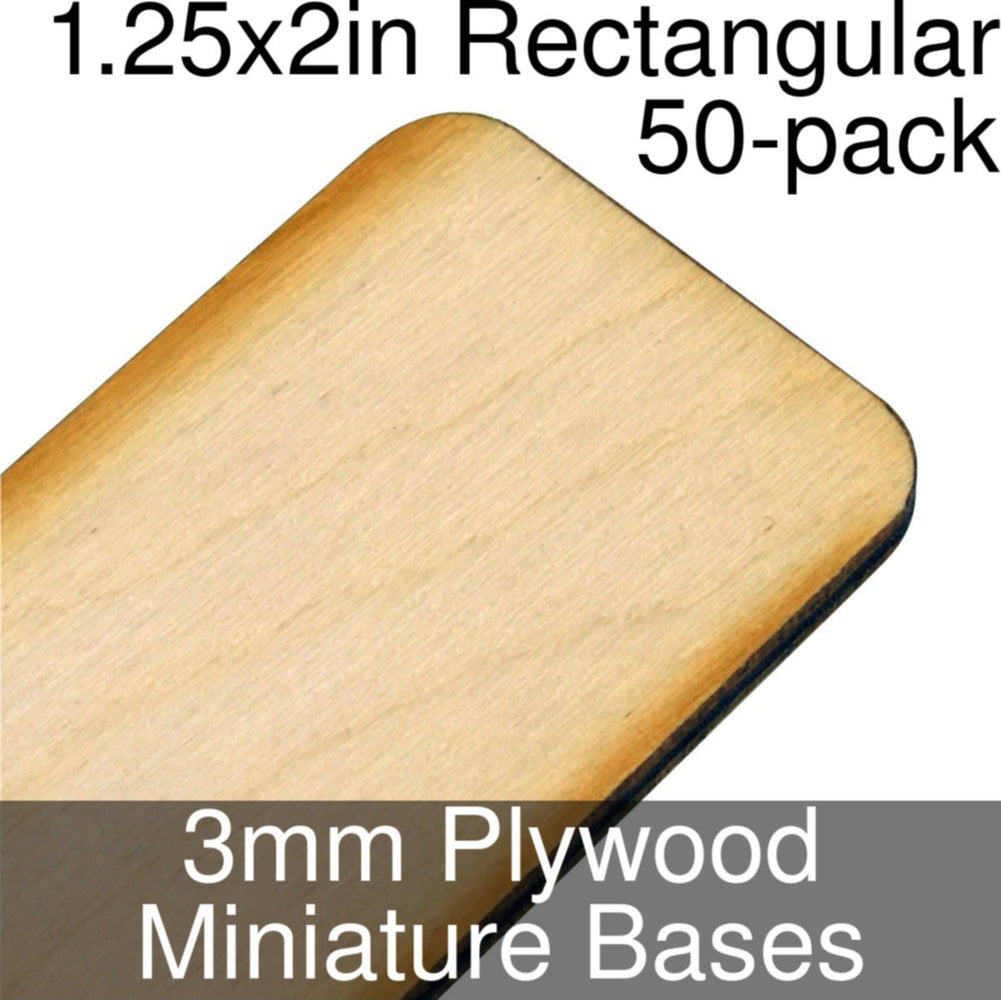 Miniature Bases, Rectangular, 1.25x2in (Rounded Corners), 3mm Plywood (50) - LITKO Game Accessories