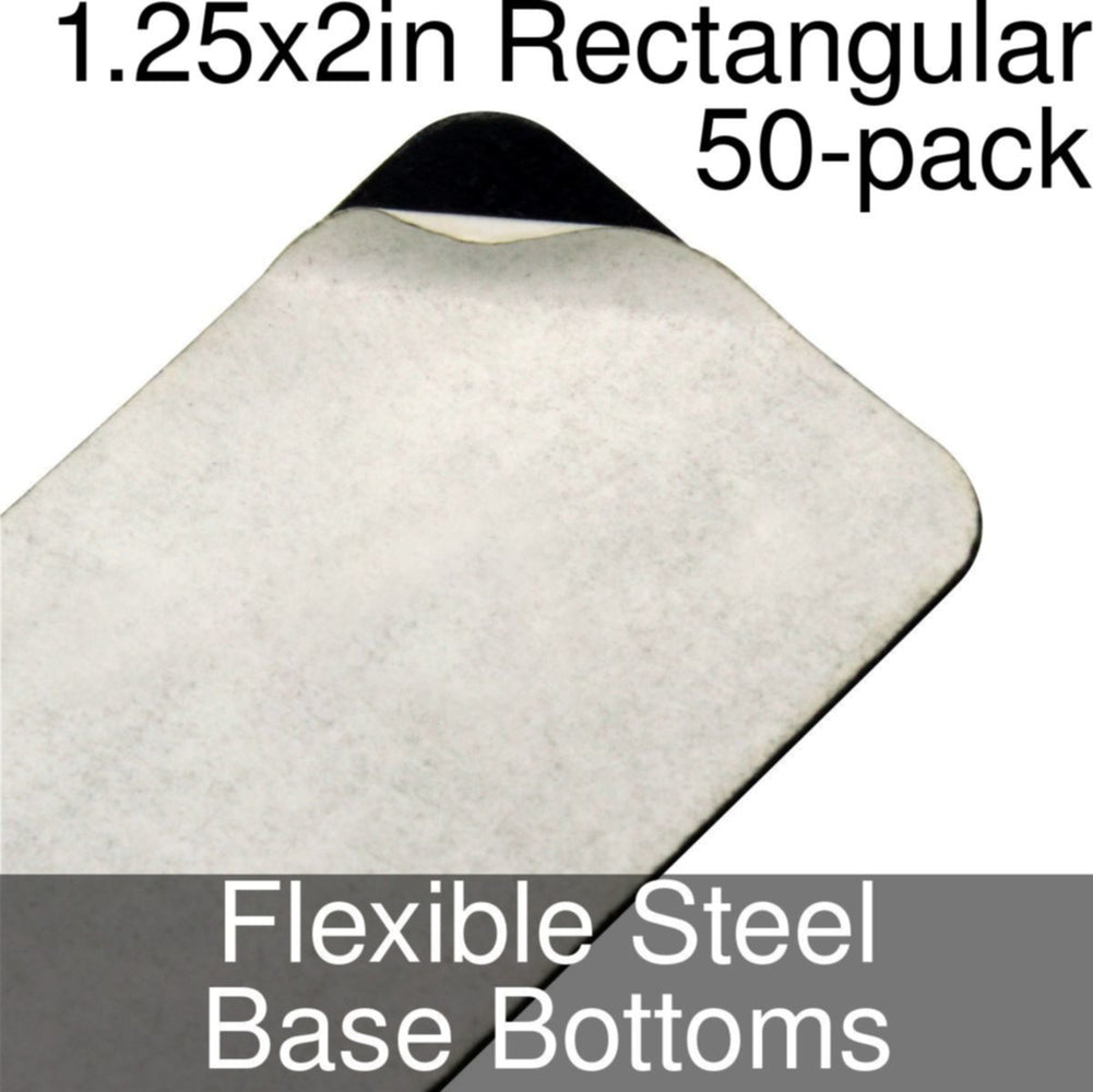 Miniature Base Bottoms, Rectangular, 1.25x2in (Rounded Corners), Flexible Steel (50) - LITKO Game Accessories