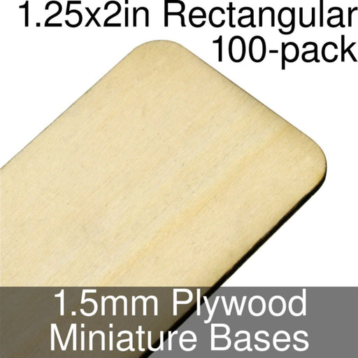 Miniature Bases, Rectangular, 1.25x2in (Rounded Corners), 1.5mm Plywood (100) - LITKO Game Accessories