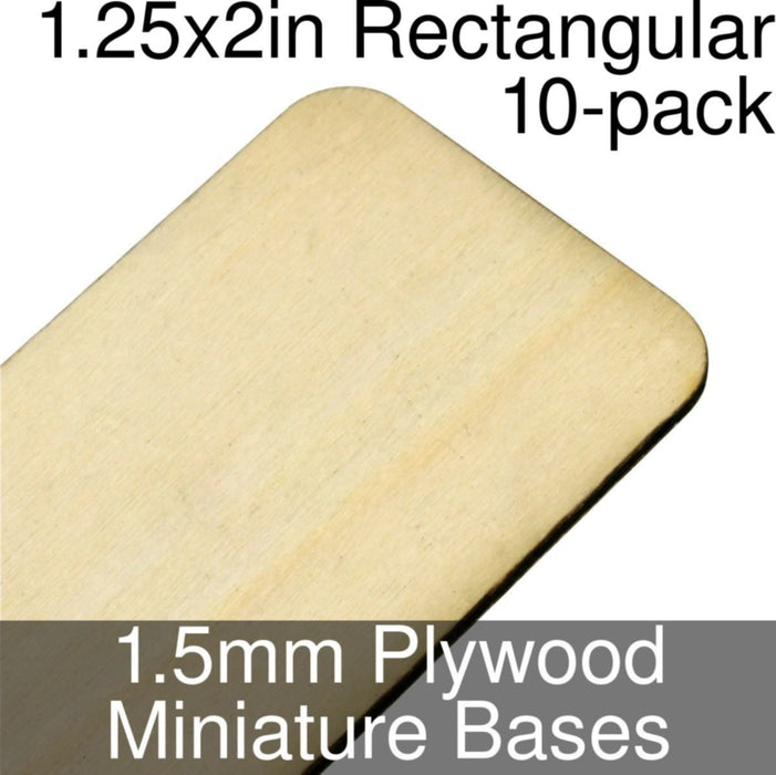 Miniature Bases, Rectangular, 1.25x2in (Rounded Corners), 1.5mm Plywood (10) - LITKO Game Accessories