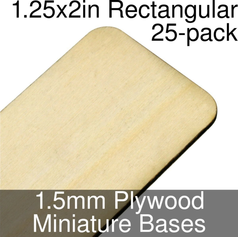 Miniature Bases, Rectangular, 1.25x2in (Rounded Corners), 1.5mm Plywood (25) - LITKO Game Accessories