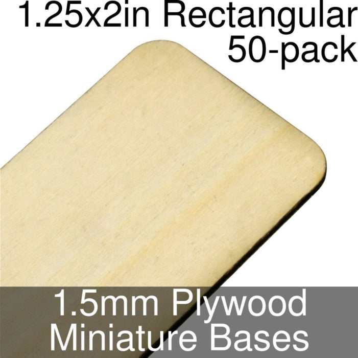 Miniature Bases, Rectangular, 1.25x2in (Rounded Corners), 1.5mm Plywood (50) - LITKO Game Accessories