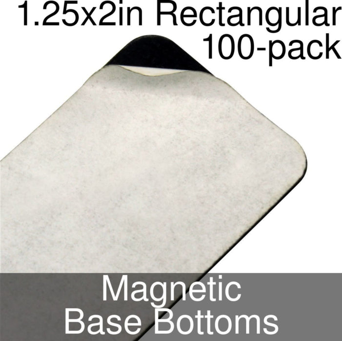 Miniature Base Bottoms, Rectangular, 1.25x2in (Rounded Corners), Magnet (100) - LITKO Game Accessories