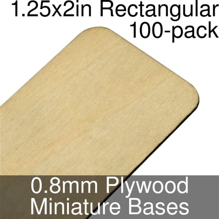 Miniature Bases, Rectangular, 1.25x2in (Rounded Corners), 0.8mm Plywood (100) - LITKO Game Accessories
