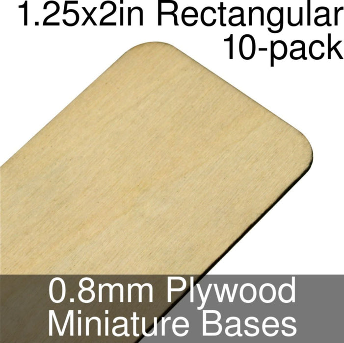 Miniature Bases, Rectangular, 1.25x2in (Rounded Corners), 0.8mm Plywood (10) - LITKO Game Accessories