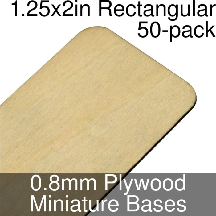 Miniature Bases, Rectangular, 1.25x2in (Rounded Corners), 0.8mm Plywood (50) - LITKO Game Accessories