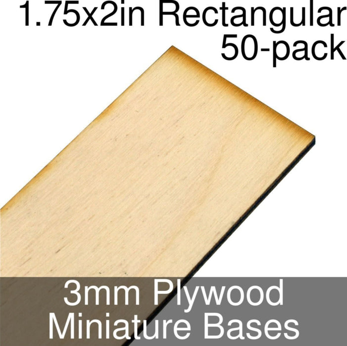 Miniature Bases, Rectangular, 1.75x2inch, 3mm Plywood (50) - LITKO Game Accessories