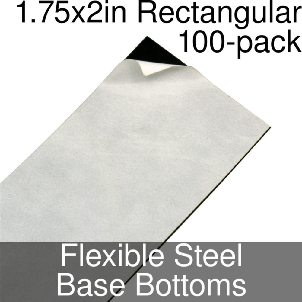 Miniature Base Bottoms, Rectangular, 1.75x2inch, Flexible Steel (100) - LITKO Game Accessories