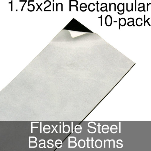 Miniature Base Bottoms, Rectangular, 1.75x2inch, Flexible Steel (10) - LITKO Game Accessories