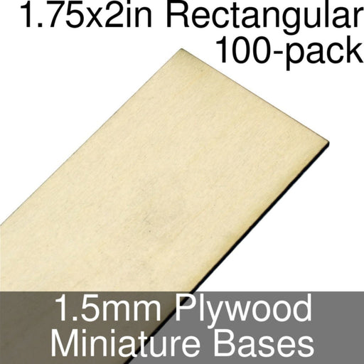 Miniature Bases, Rectangular, 1.75x2inch, 1.5mm Plywood (100) - LITKO Game Accessories