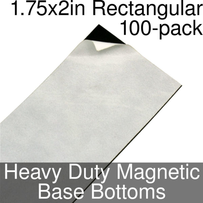 Miniature Base Bottoms, Rectangular, 1.75x2inch, Heavy Duty Magnet (100) - LITKO Game Accessories