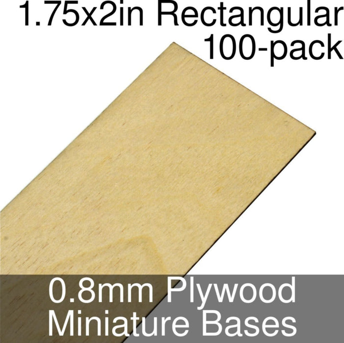Miniature Bases, Rectangular, 1.75x2inch, 0.8mm Plywood (100) - LITKO Game Accessories