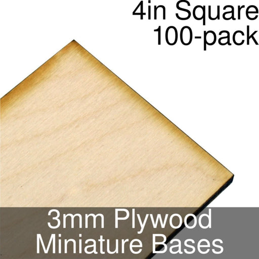 Miniature Bases, Square, 4inch, 3mm Plywood (100) - LITKO Game Accessories