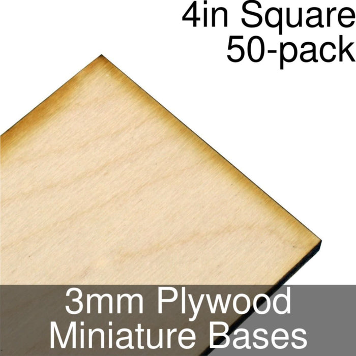 Miniature Bases, Square, 4inch, 3mm Plywood (50) - LITKO Game Accessories