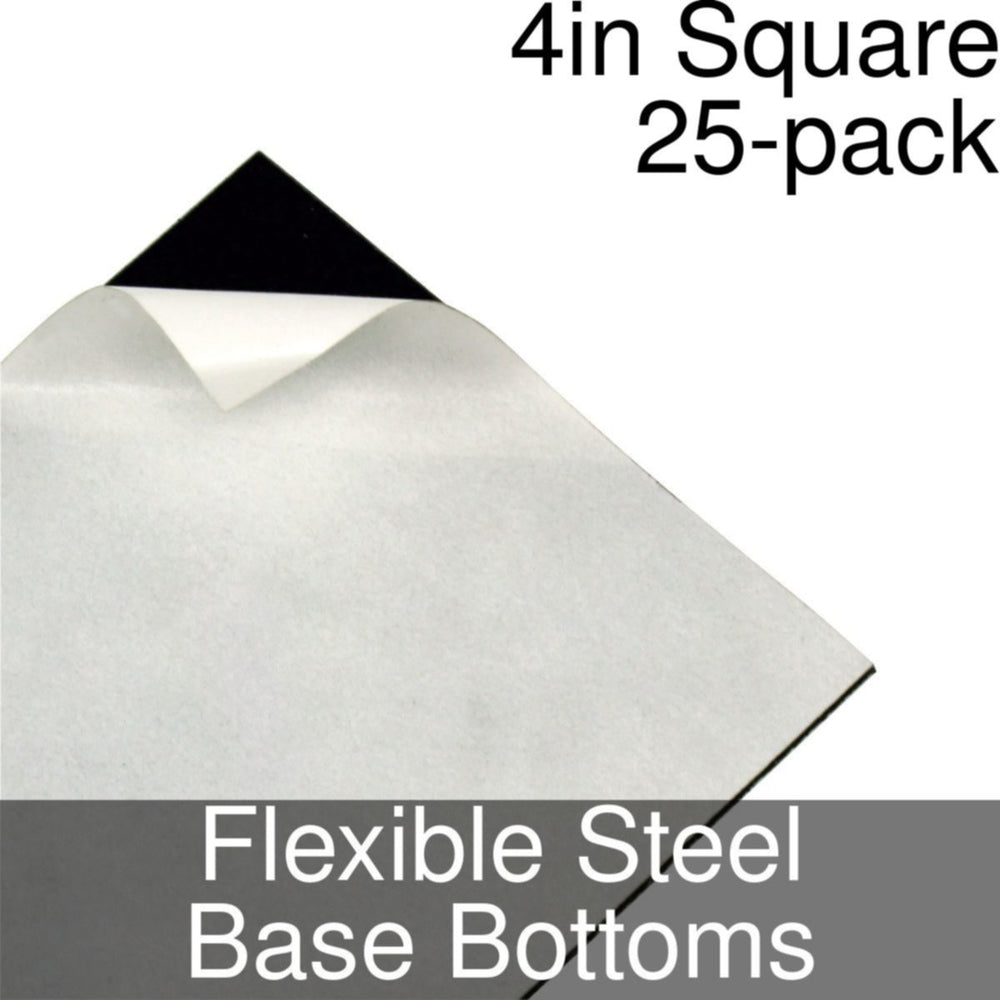Miniature Base Bottoms, Square, 4inch, Flexible Steel (25) - LITKO Game Accessories
