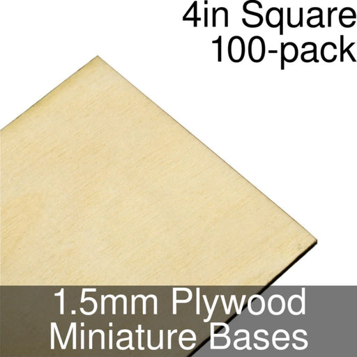 Miniature Bases, Square, 4inch, 1.5mm Plywood (100) - LITKO Game Accessories