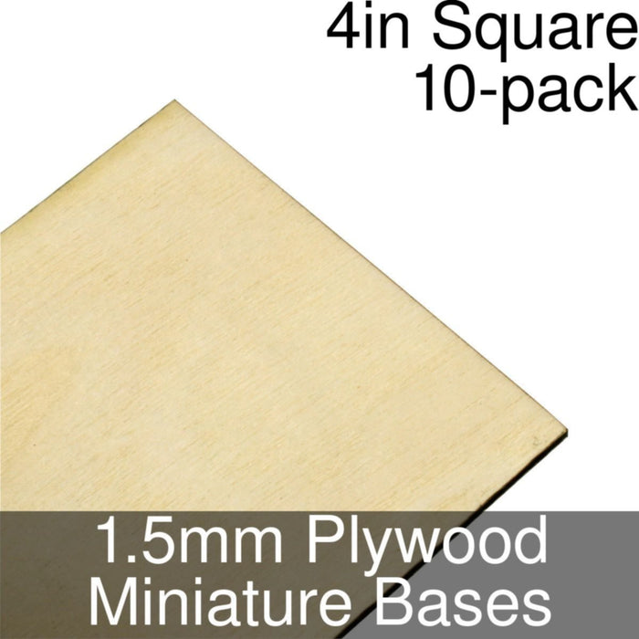 Miniature Bases, Square, 4inch, 1.5mm Plywood (10) - LITKO Game Accessories