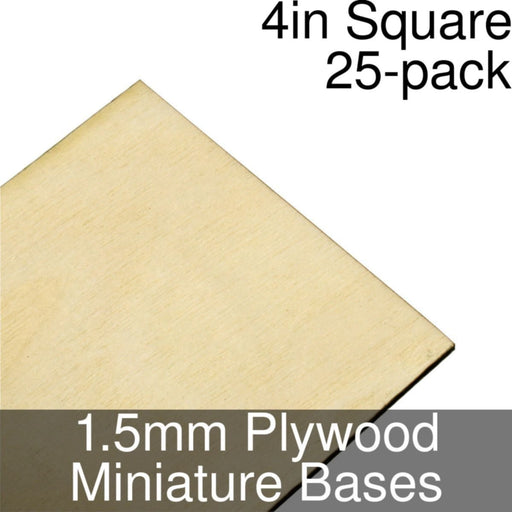 Miniature Bases, Square, 4inch, 1.5mm Plywood (25) - LITKO Game Accessories
