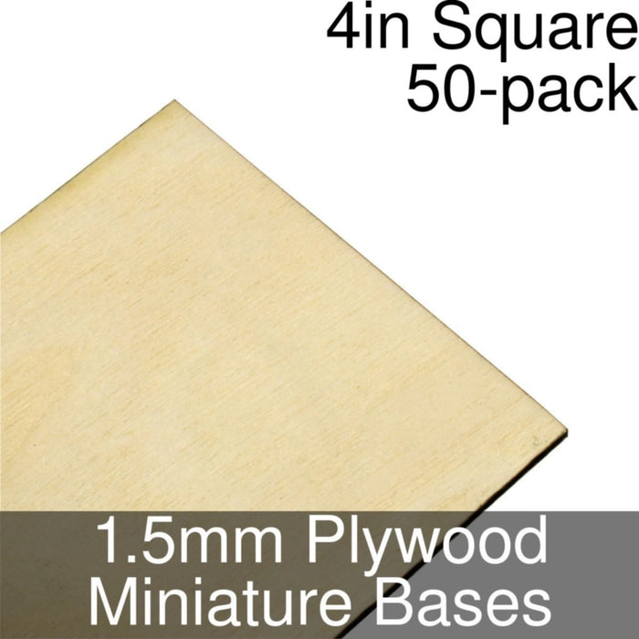 Miniature Bases, Square, 4inch, 1.5mm Plywood (50) - LITKO Game Accessories